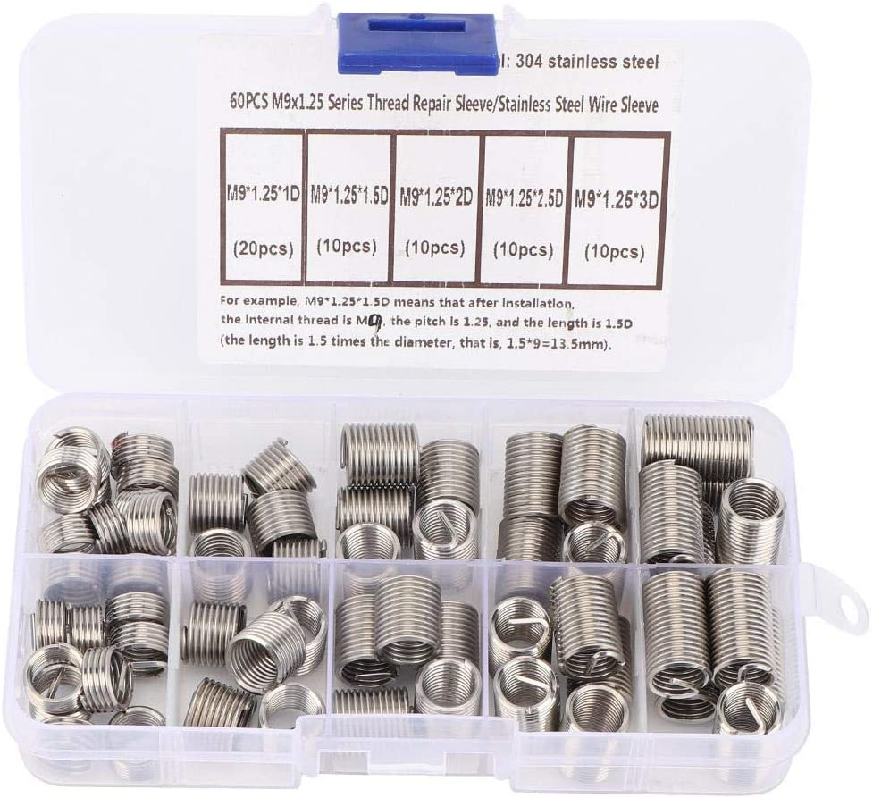 60pcs Wire Screw Sleeve Assortment Kit M91.25 Stainless Steel Helical Type Thread Repair Insert Thread Screws Sleeve Set