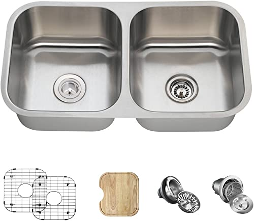 502A 16 Gauge Stainless Steel Kitchen Ensemble Bundle – 6 Items Sink, Basket Strainer, Standard Strainer, 2 Sink Grids, and Cutting Board