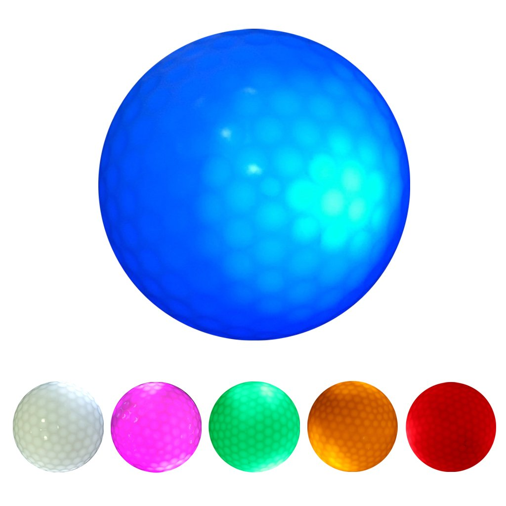 MonkeyJack 6 Pieces Glow In Dark LED Light Up Golf Ball Official Size Tournament Ball