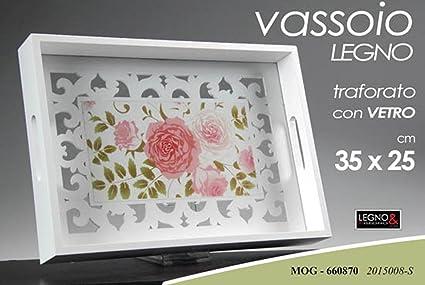 Vassoi In Legno Con Vetro : Vassoio 35*25*5 cm legno mog manici traforato con vetro shabby chic