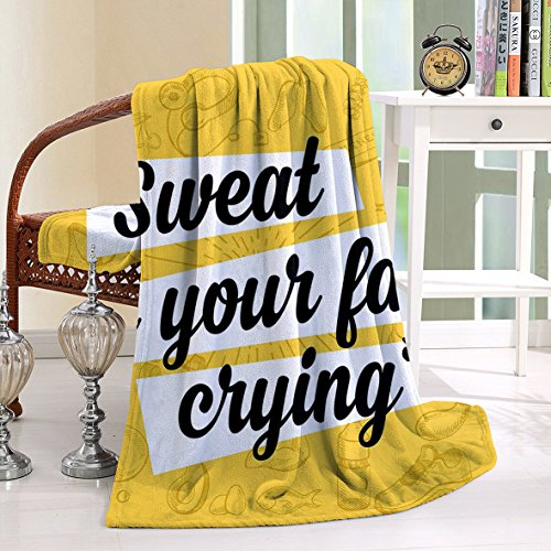 Rick Grimes Costume Kids (HAIXIA Throw Blanket Fitness Sweat is Your Fat Crying Funny Humorous Quote Diet Losing Weight Exercise Yellow Black White)