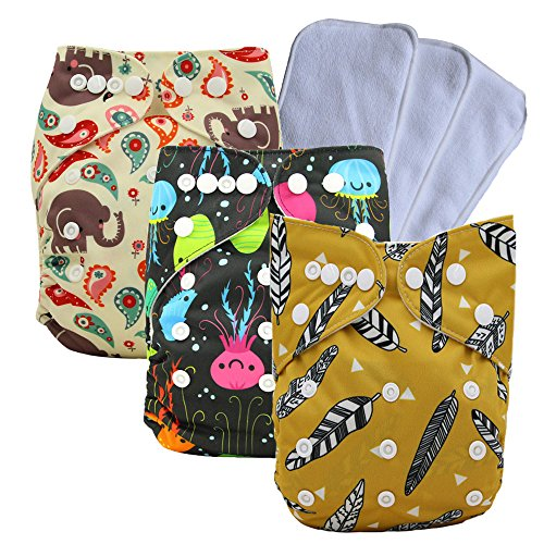 2 Ply Velour Terry (Ohbabyka Reusable Pocket Cloth Diapers Washable Adjustable One Size for Baby Boys and Girls (one size, Astyle-6))