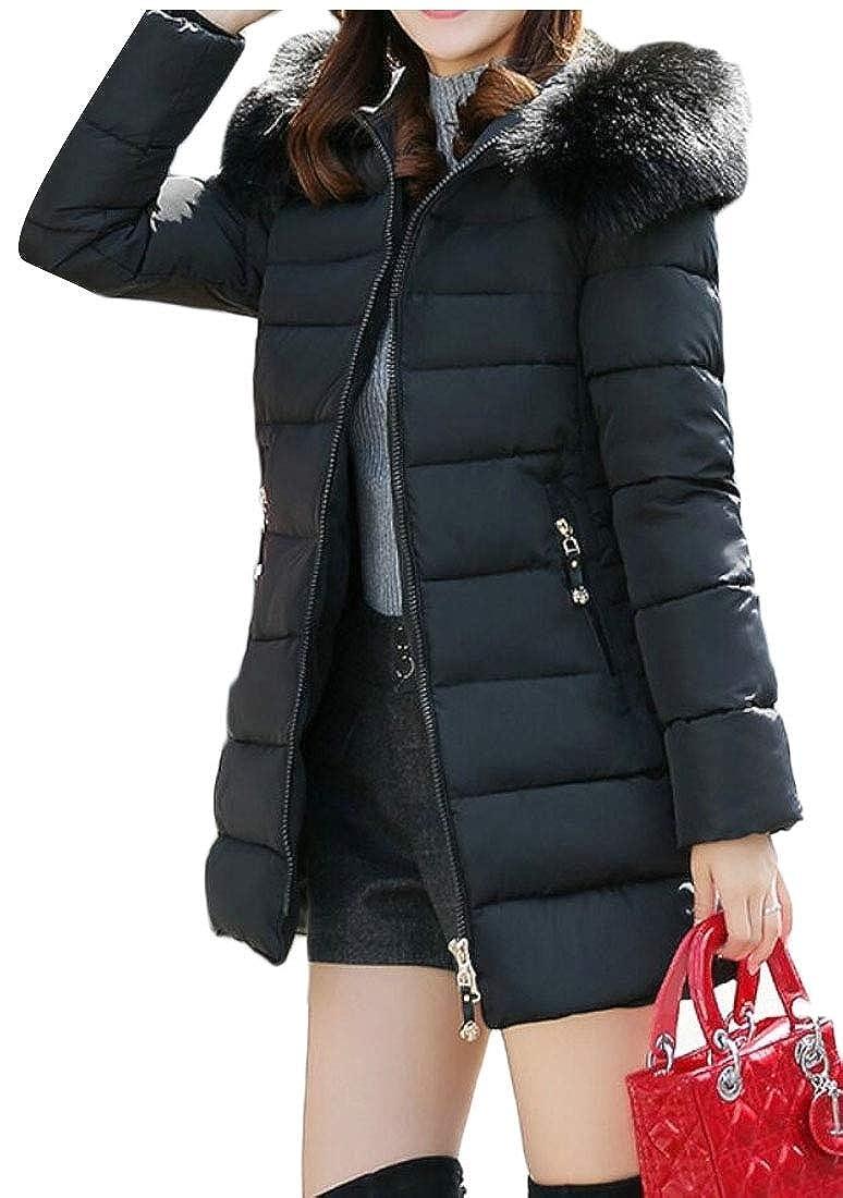 Black jxfd Women's Down Puffer Coat Parka Long Jacket Outerwear with Fox Fur Hood