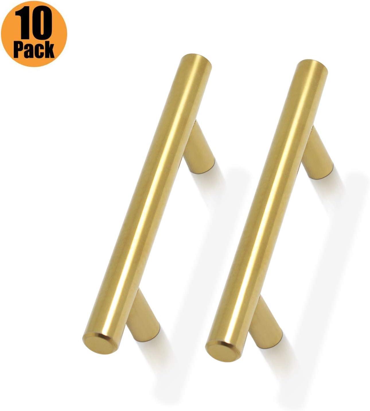 Probrico Tiradores para puerta de cocina lat/ón dorado, mango de acero inoxidable, incluye tornillos . Paquete de 30 5in oro Hole Centers:128mm acero inoxidable