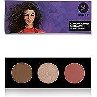 SUGAR Cosmetics Contour De Force Face Palette 01 Subtle Summit (Brown Grey Bronzer, Champagne Gold Highlighter, Soft Peach Pink Blush, 12 g)