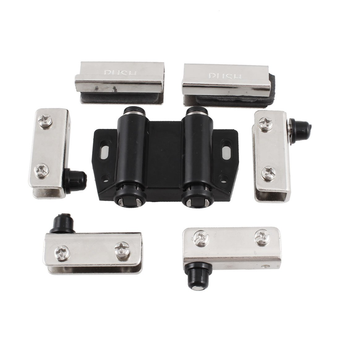 Sourcingmap Home Office Glass Door Double Push Head Magnetic Catch Latch With Clamp Co Uk Diy Tools