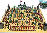 146 PCS WWII Set Action Figures Army Men Bucket Playset with War Soldiers Tanks Planes Flags and More,Toy Soldiers Set,Gift for Kids Boys Girls
