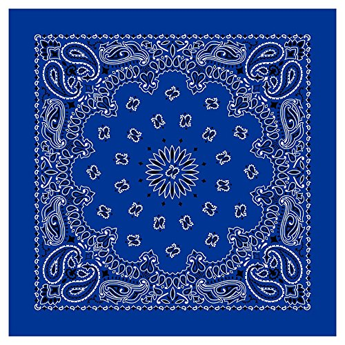 "100% Cotton Western Paisley Bandanas (22"" x 22"") Made in USA - Royal Single Piece 22x22 - Use For Handkerchief, Headband, Cowboy Party, Wristband, Head Scarf - Double Sided Print"
