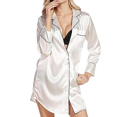 bc6e8dbef7786 Morbuy Femme Pyjama Bouton Chemise Sexy Vêtements De Nuit Satin Manches  Longues Robe de Nuit 1