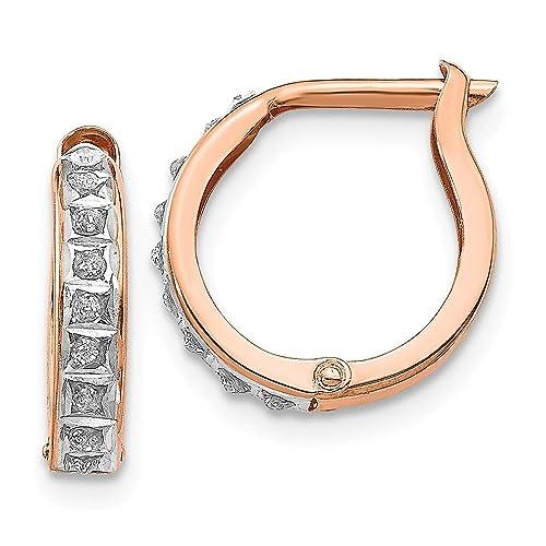 Amazon.com: 14 K Rose Oro Diamante Fascinación Redondo Con ...
