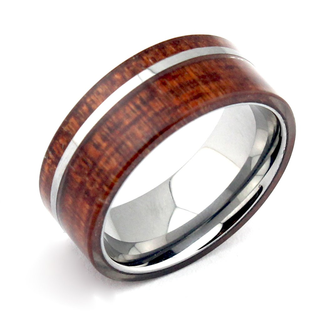 Will Queen Hawaii Koa Wood Inlay Men's Tungsten Wedding Bands with Mirror Polished Tungsten Stripe 8mm Promise Rings for Couples Engagement Matching Rings, Holiday Birthday Gift for Boyfriend (12.5)
