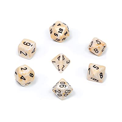 Chessex CHX27402 Dice-Marble Ivory/Black Set: Toys & Games