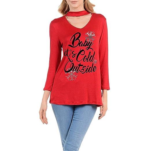 Navidad carta imprimir Top, litetao mujeres chica Sexy camiseta de manga larga con cuello en V blusa, Rojo: Amazon.es: Deportes y aire libre