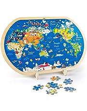 VATOS Houten puzzels voor peuters, Wereldkaart legpuzzels voor kinderen Prefect houten speelgoed voor 3 4 5 6+ jarigen jongens en meisjes Montessori speelgoed houten puzzels