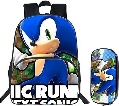 HGYYIO 3D Conjuntos de Bolsas de Libros Anime Sonic Impreso Mochilas Escolares para niños + Estuche Impermeable Nylon Jardín de Infancia Escuela Primaria Mochila para niños,B: Amazon.es: Deportes y aire libre