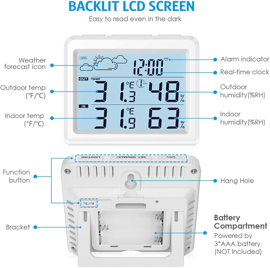 Home Weather Forecaster Station Alarm Clock Brifit Weather Station ...