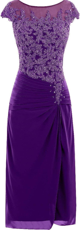 DINGZAN Knee Length Applique Mother Bride Groom Dresses Cap Sleeves