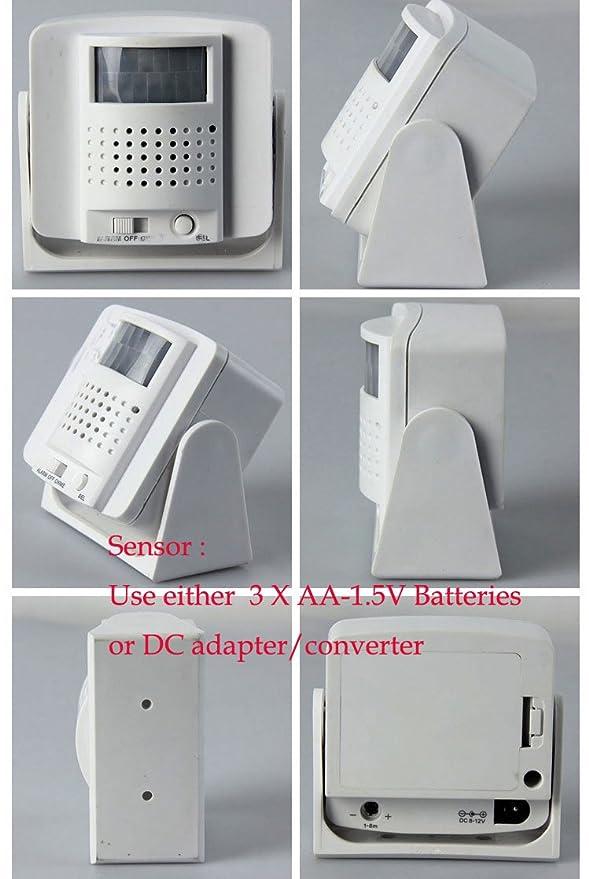 Wirelesss PIR Sensor de movimiento por infrarrojos Detector de alarma de puerta Bell Timbre de invitados con CA plug-in receptor: Amazon.es: Electrónica