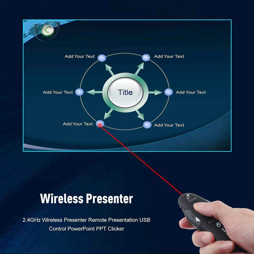 julyso PPT Pointer Clicker 2.4GHz Wireless USB PPT Pointer Clicker Presenter Remote in Style