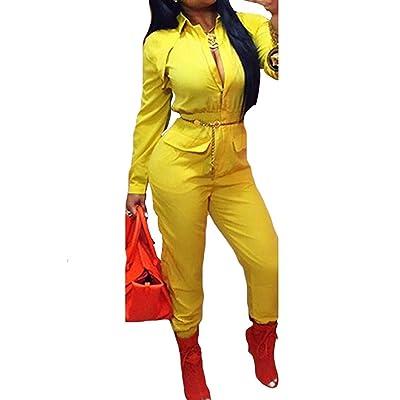 Mojessy Women Turn Dwon Collar Long Sleeve Zipper Blouson Elastic Waist Long Pants Ruched Jumpsuits