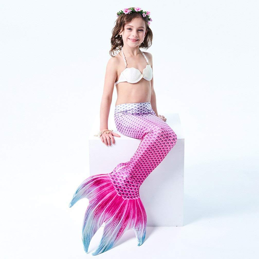 Couleur 1 135-145 (10-11 years old) MARYYUN Filles Cosplay Costume Maillots De Bain,Sirène Shell Maillot De Bain Ensembles,Enfant Filles De Sirène Maillot De Bain,Natation Maillot De Ba (MultiCouleure en Option)