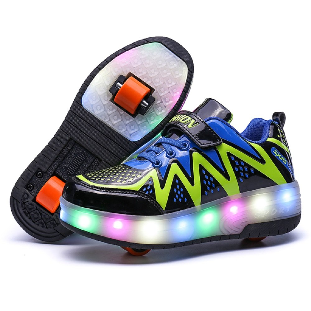 Nsasy - YCOMIEX - Zapatillas deportivas, con ruedas y luz LED, unisex, (Black (Double Wheel)), 30 M EU=12.5 M US Little Kid: Amazon.es: Zapatos y ...