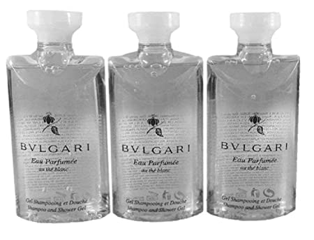 Bvlgari Au The Blanc White Tea Shampoo and Shower Gel Travel Size, 2.5 Ounce Bottles – Set of 3