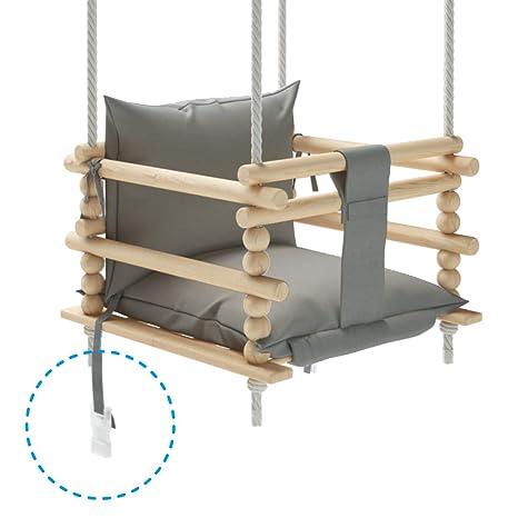 Wooden baby swing is very solid door frame indoor or outdoor garden tree safety