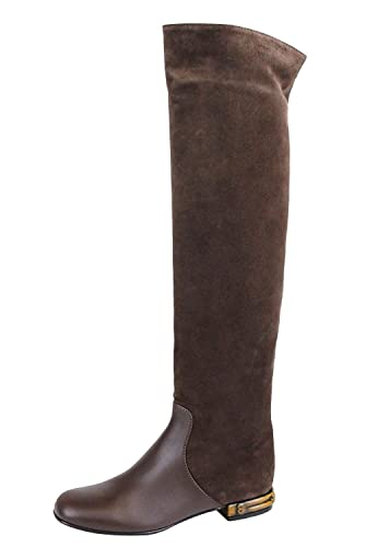 0903d066c Gucci Women's Brown Suede Bamboo Knee High Heel Boots 338698 (38 G / 8 US