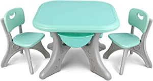 LAZY BUDDY Kids Table and Chairs Set, Children Activity Art Study Desk with 2 Seats & 4 Storage Bins, Kiddie Toddler Gift for Boys & Girls Indoor Outdoor Patio, Lightweight Plastic Furniture
