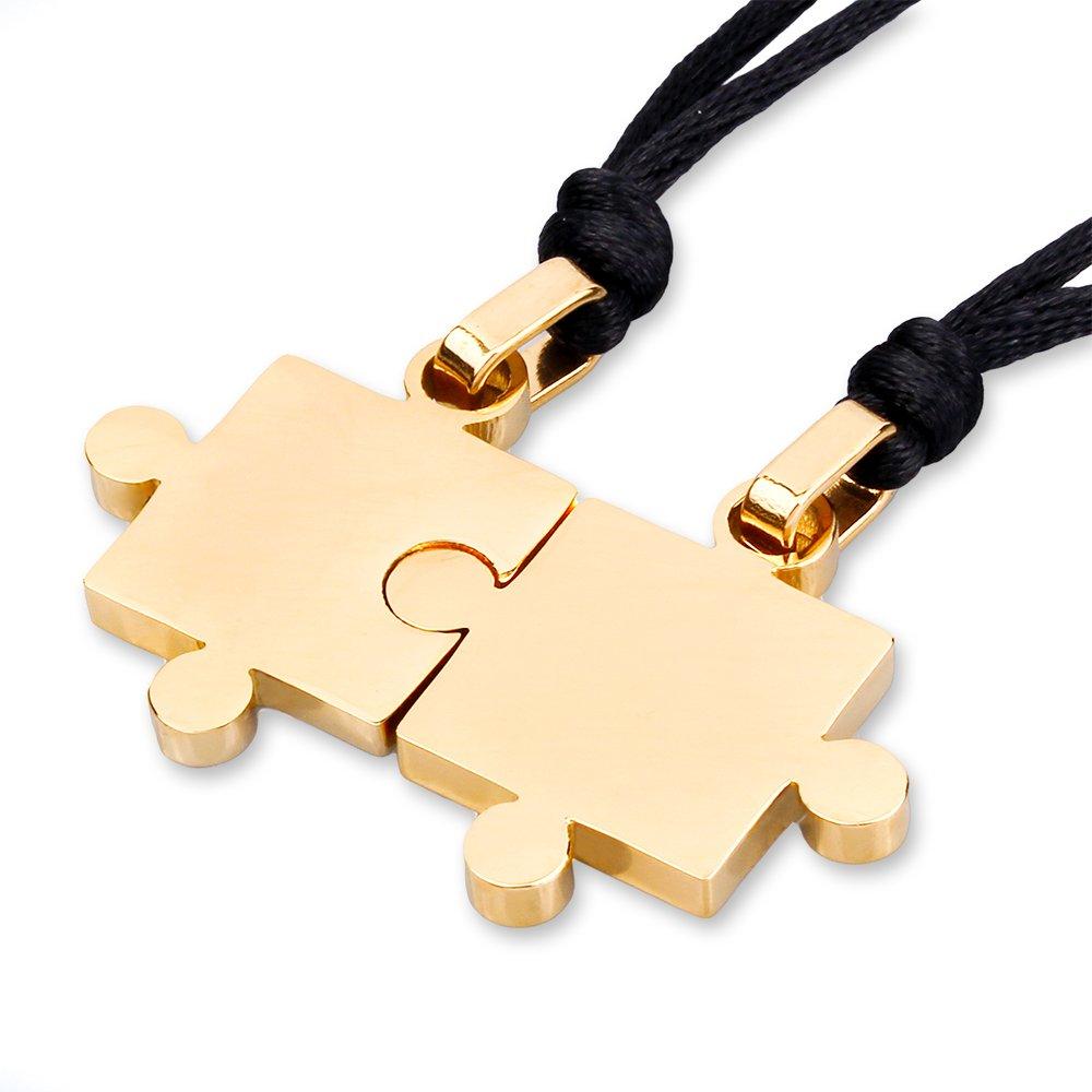 Mendino-Puzzle-Anhänger für Herren und Damen, schwarz, Liebespaar, Valentinstag, Edelstahl, Halsketten, 2 Teile. 2 Teile. (Black) JPD0011BK UK