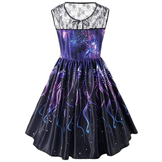 Amazon.com: Women Halloween Vintage Lace Sexy Sleeveless Galaxy Print Irregular Wedding Cocktail Party Dress: Clothing