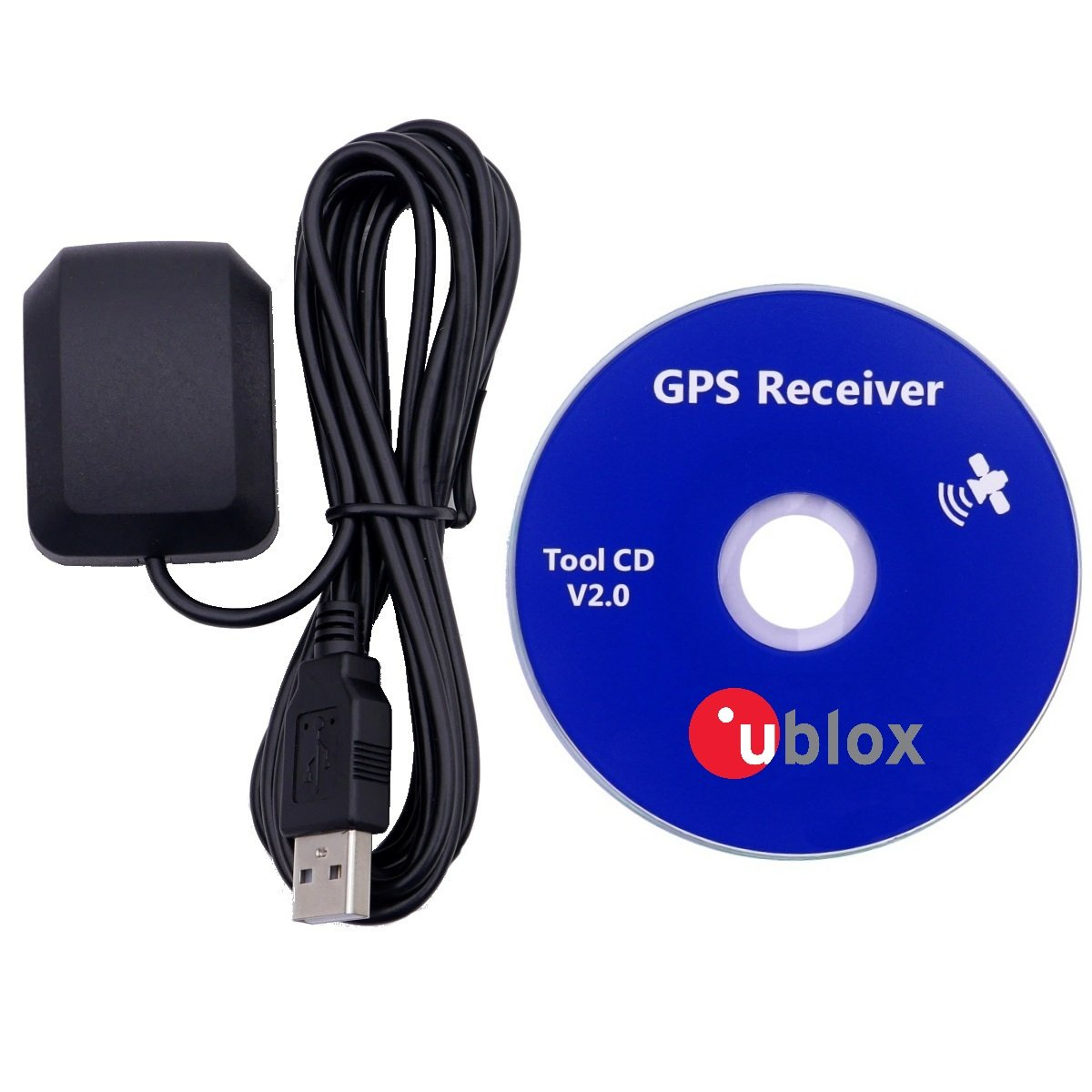 GPS USB, Dual Band, Glonass Active Receiver Antenna, Waterproof Device, Works with Laptop, Outdoor Navigator, Automobile Tracker, Streets Navigation Systems, Windows Compatible, 27 db Gain