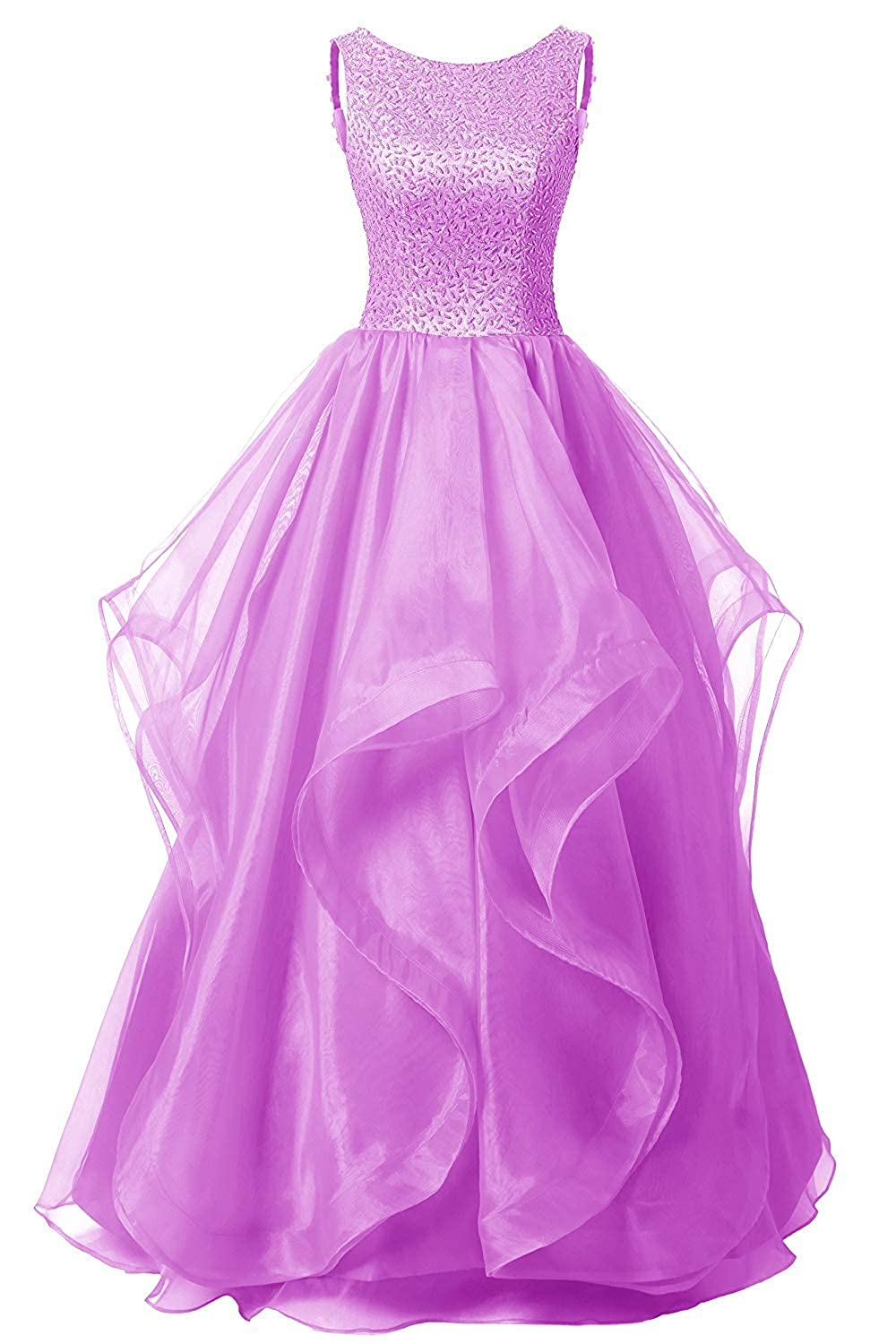 purplec Uther Long Formal Evening Prom Dress Organza Bridesmaid Dresses Beaded Gown