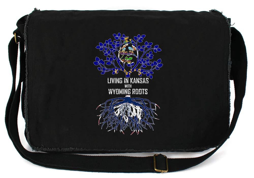 Tenacitee Living In Kansas with Wyoming Roots Grey Brushed Canvas Messenger Bag