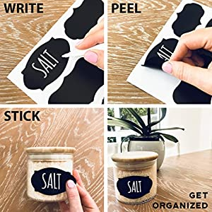 96 Premium Chalkboard Labels Bulk - Free Erasable Chalk Pen - Dishwasher Safe Chalk Board Mason Jar Labels - Removable Waterproof Blackboard Sticker Label For Jars Glass Bottle Kids by Savvy & Sorted