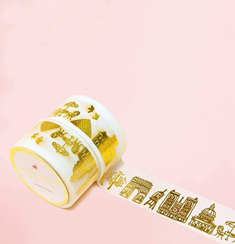 Paris in Gold Foil Washi Tape for Planning • Scrapbooking • Arts Crafts • Office • Party Supplies • Gift Wrapping • Colorful Decorative • Masking ...