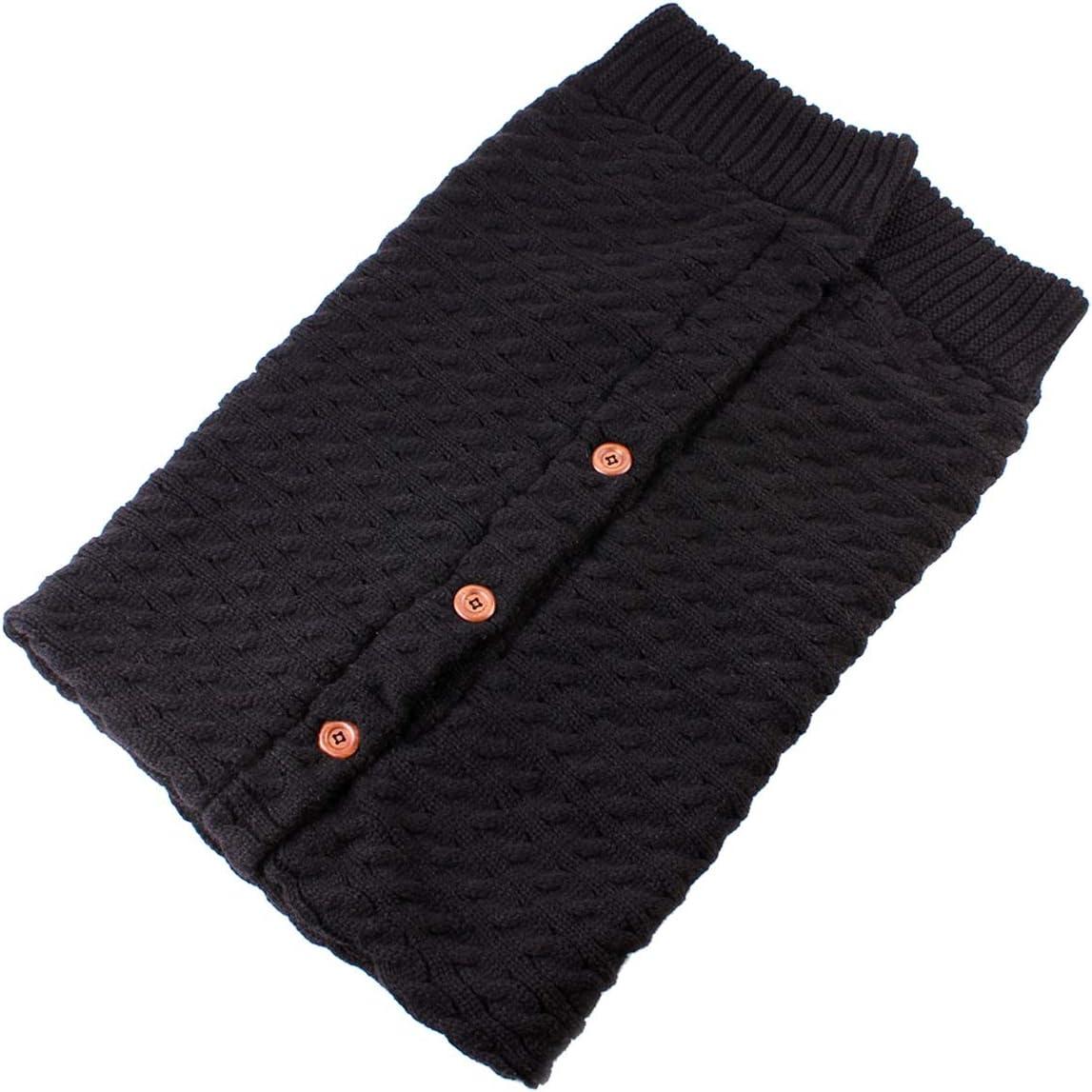 Color : Black Nouveau-n/é B/éb/é Hiver Wadd Swaddle Tricot/é Sac De Couchage Sac De Sommeil Poussette Wrap Pour B/éb/é