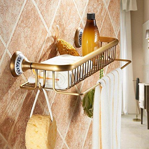 BATHAE Badezimmer antike Keramik Messing Duschkorb Badregal Korb Platz Korb für Bad Halter