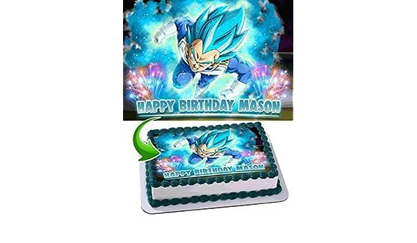 Dragon Ball Super Vegeta Anime Z Saiyan Edible Cake Topper Personalized Birthday 1 4 Sheet Decoration Custom Party On