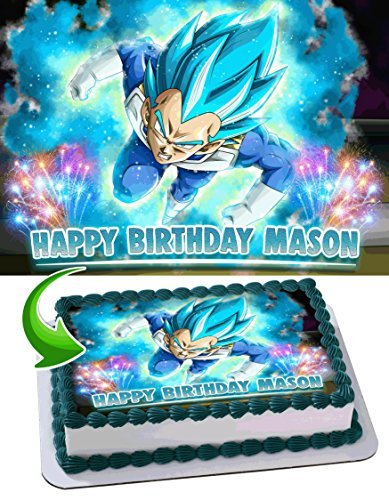 Dragon Ball Super, Vegeta, Anime, Dragon ball Z, Super Saiyan Edible Cake Topper Personalized Birthday 1/4 Sheet Decoration Custom Sheet Party Birthday on Wafer Rice - Ball Cookie Dragon Z