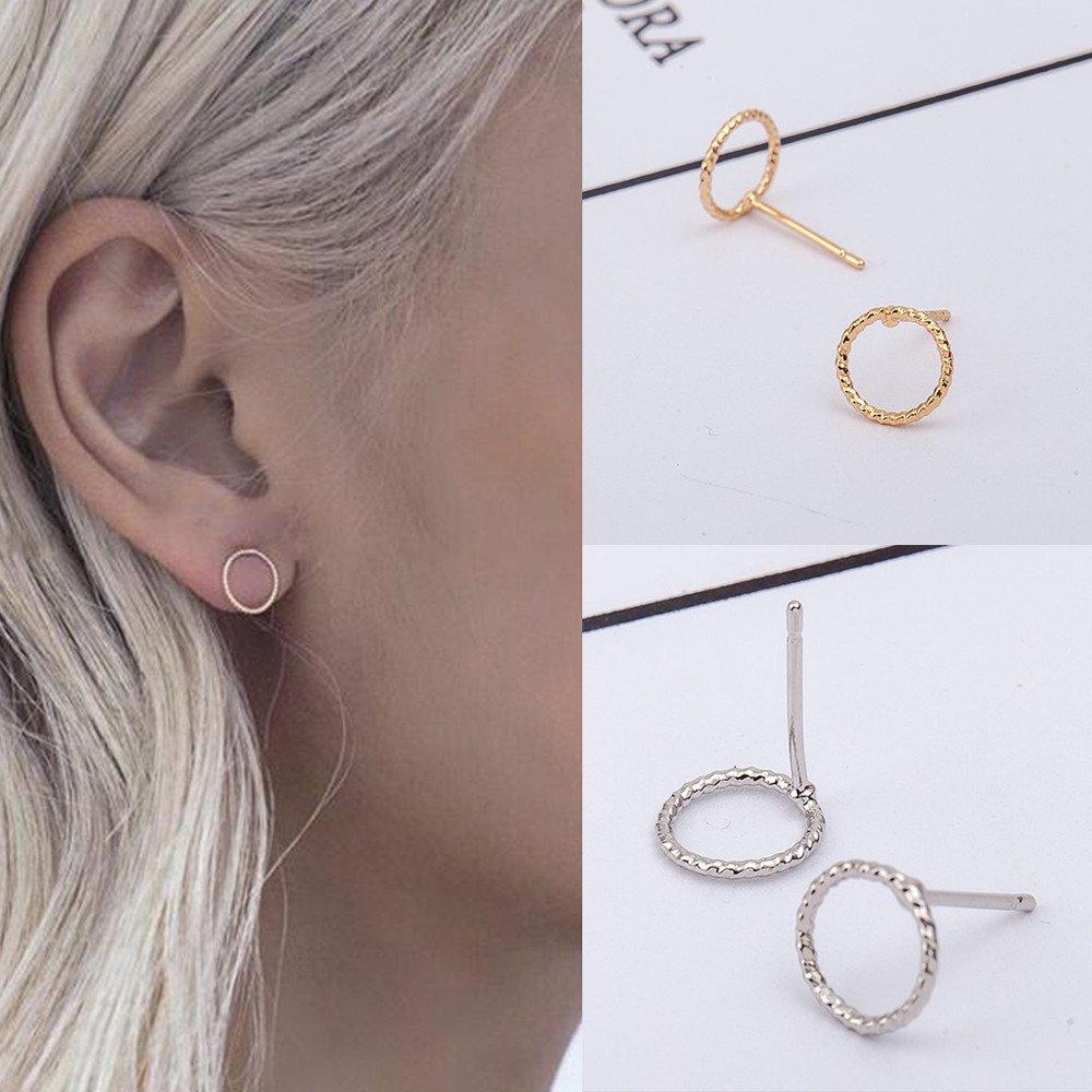 OWMEOT Pretty Tiny Round Stud Earrings Simple Geometric Circle Earrings for Women Girls (Silver)