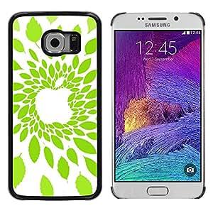 TopCaseStore / la caja del caucho duro de la cubierta de protección de la piel - Apple Leaf Green Nature - Samsung Galaxy S6 EDGE SM-G925
