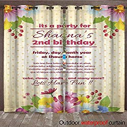 RenteriaDecor Outdoor Curtain for Patio Party Invitation Template Flower W108 x L84