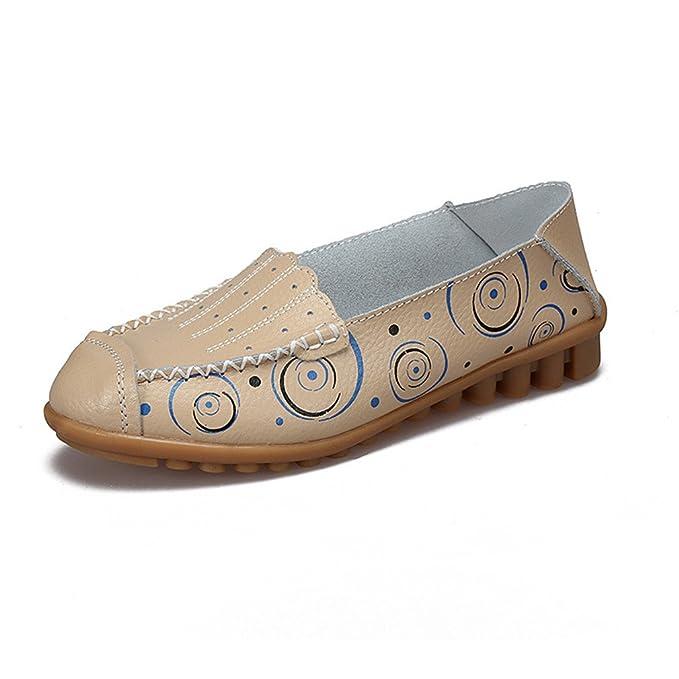 Zapatos de mujer Zapatos de mocasines de madre Zapatos de moda de niña Zapatos casuales Mocasines de cuero genuino Beige 5: Amazon.es: Ropa y accesorios