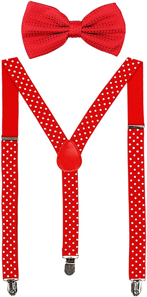 HABI mehrfarbig elastisch gepunktet Hosentr/äger Y-Form L/änge f/ür Damen und Herren mit den starken Clips Playshoes und Fliege in verschiedenem Design