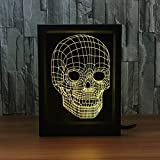 Ornerx 3D Illusion Lamp Photo Frame LED Night Light Skull