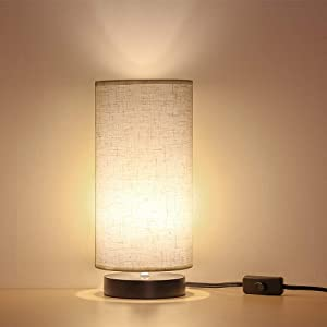 Bedside Table Lamp Minimalist Desk Lamp with Fabric Shade Modern Nightstand Lamp for Bedroom Living Room