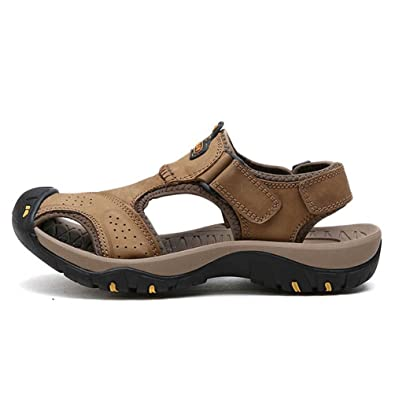 d31af15a94a6 Mens Genuine Leather Summer Soft Male Sandals Shoes for Men Breathable  Light Beach Casual Walking Sandals  Amazon.co.uk  Shoes   Bags