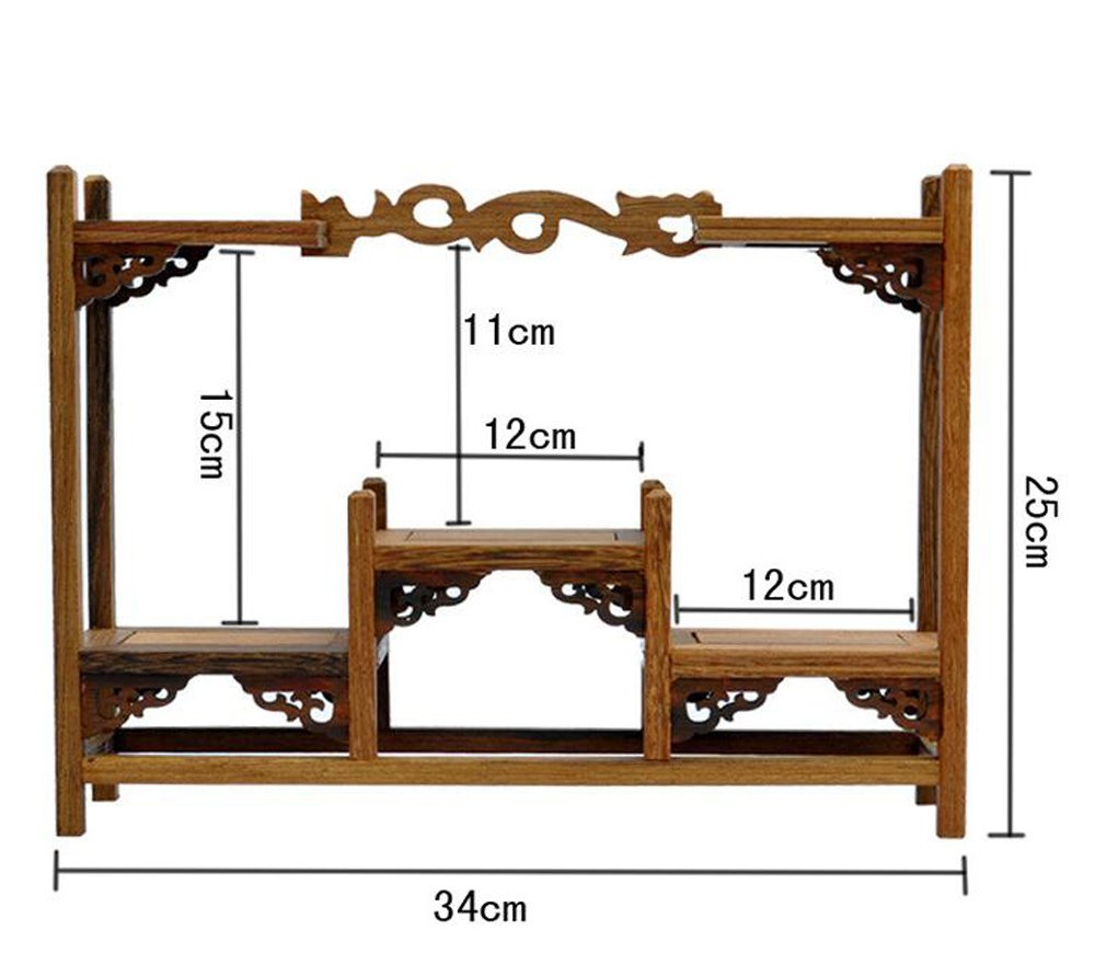 NWFashion Chinese Wooden Assemble Display Stand Symmetric Short Floor Curio Cabinets Shelf (2)